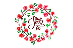 Lettering with true love framed watercolor flowers Stock Photo