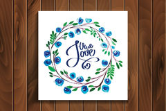 Lettering with true love framed watercolor flowers Stock Images