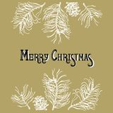 Lettering, twigs and pine cones in gold, silver and white. Merry Christmas. Greeting card, invitation. Lettering, twigs and pine cones in gold, silver and white Stock Photos