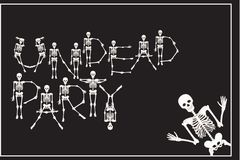 Lettering undead party with dancing skeletons font, set of lette Stock Image