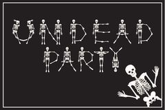 Lettering undead party with dancing skeletons font, set of lette Royalty Free Stock Photography