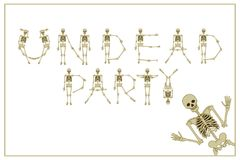 Lettering undead party with dancing skeletons font, set of lette Royalty Free Stock Image