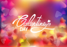 Lettering Valentines Day on soft colorful blurred background with hearts. Vector illustration EPS10.  Royalty Free Stock Image