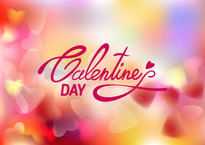 Lettering Valentines Day on soft pink blurred background with hearts. Vector illustration EPS10 Stock Photos