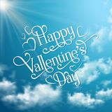 Lettering valentines phrase on sky background Royalty Free Stock Images