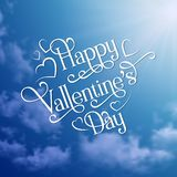 Lettering valentines phrase on sky background Stock Images