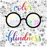 Lettering vector illustration of a word color blindness with test vector illustration