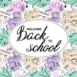 Lettering Welcome Back to School banner with texture from line art icons of education, science objects  on white oval shape and co royalty free illustration