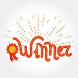 Lettering winner with radial lines Stock Photos