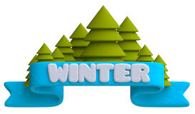 Lettering winter on the blue ribbon with Christmas Stock Photo