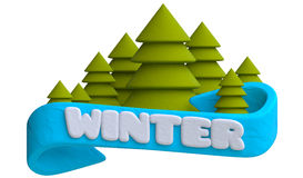 Lettering winter on the blue ribbon with Christmas Royalty Free Stock Images