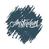 Lettering for word europe city Amsterdam on blue texture vector illustration