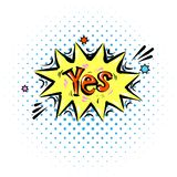 Lettering Yes. Comic text sound effects. Bubble icon speech phrase. Cartoon exclusive font label tag expression. Sounds. Lettering Yes, yeah. Comic text sound Royalty Free Stock Image