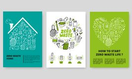 Zero Waste Concept. Web or print vertical banners design template with doodle elements in eco-friendly style. vector illustration
