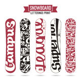 Letterings print for snowboards Royalty Free Stock Images