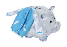 Letterman Jacket on Piggy Bank Stock Photo