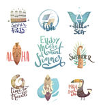 Letternit with palm trees and animals. Royalty Free Stock Image