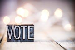 Letterpress έννοιας ψηφοφορίας εκλεκτής ποιότητας θέμα τύπων Στοκ Εικόνα