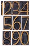 Letterpress αριθμοί τύπων που απομονώνονται ξύλινοι Στοκ Εικόνες
