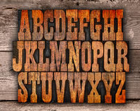 Letterpress επιστολές αλφάβητου Στοκ φωτογραφία με δικαίωμα ελεύθερης χρήσης