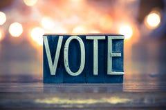Letterpress μετάλλων έννοιας ψηφοφορίας τύπος Στοκ Φωτογραφίες