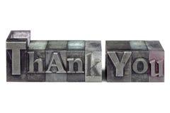 letterpress благодарит вас Стоковая Фотография RF