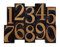 letterpress нумерует типы древесину сбора винограда Стоковые Изображения