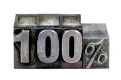 Letterpress 100%. The term 100% in old letterpress printing blocks isolated on a white background Royalty Free Stock Photography