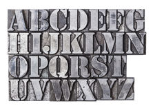Letterpress Alphabet. An antique lead letterpress alphabet isolated on a white background stock image
