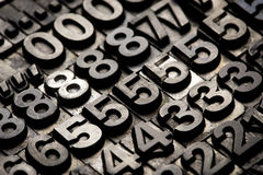 Letterpress - block letter English alphabet and number Stock Photo