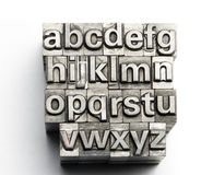 Letterpress - block letter English alphabet and number Royalty Free Stock Image