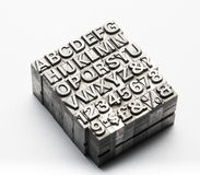 Letterpress - block letter English alphabet and number Royalty Free Stock Photos