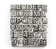 Letterpress - block letter English alphabet and number Royalty Free Stock Images