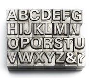 Letterpress - block letter English alphabet and number Stock Image