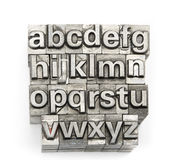 Letterpress - block letter English alphabet and number Royalty Free Stock Photography