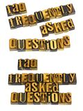 Frequently asked questions faq letterpress Stock Photography