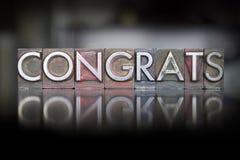 Letterpress Congrats Стоковая Фотография RF