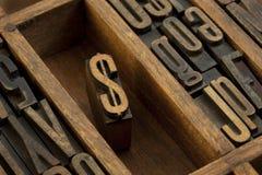 letterpress dolarowy typ rocznik drewniany zdjęcia royalty free