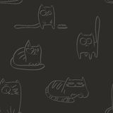 Letterpress funny cats. Letterpress seamless pattern with hand drawn sketches of funny cats Stock Photography