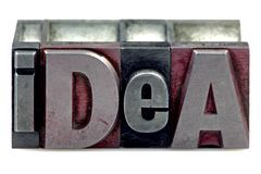 Letterpress Idea. The word Idea in old letterpress printing blocks isolated on a white background stock photography