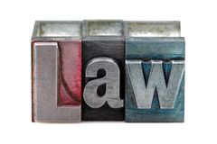 Letterpress Law. The word Law in old letterpress printing blocks isolated on a white background Stock Image