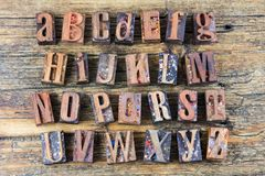 Alphabet abc wood letters letterpress Royalty Free Stock Photos
