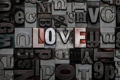 Letterpress miłość obraz stock