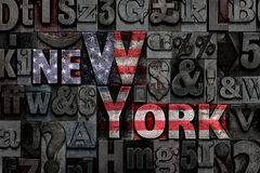 Letterpress Nowy Jork flaga Fotografia Royalty Free