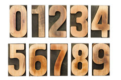 Letterpress numbers printing blocks isolated. Complete set of western arabic letterpress printing block numerals isolated on white background stock image