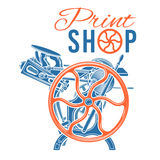 Letterpress print shop vector illustration Stock Photo