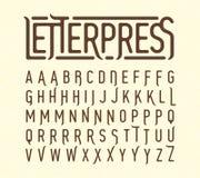 Letterpress printing style typeface Stock Photo