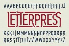 Letterpress printing style vintage typeface Royalty Free Stock Image