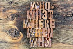 Who what where when why letterpress message. Letterpress sign who what where when why how message retro weathered wood background letters typography phrase stock image