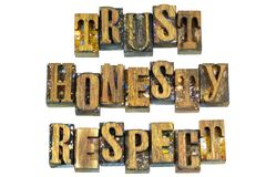 Letterpress trust honesty respect message. Trust honesty respect letterpress message wood blocks letters words ethics typography honest truth truthful character stock photography
